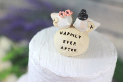 Wedding cake topper Custom love birds - Happily ever after Personalized wedding cake topper - Ceramics By Orly  - 2