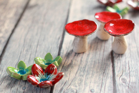 Ceramic mushroom Mushroom decor Red mushroom House warming gift Home decoration Collectibles Miniature sculpture - Ceramics By Orly  - 1