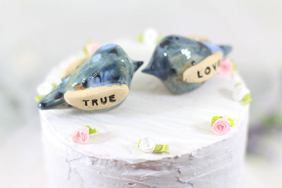 True Love Wedding cake topper Love birds cake topper Anniversary gift Chic wedding Engagement gift - Ceramics By Orly  - 1
