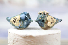 Love bird cake topper Initials cake topper Wedding cake topper Blue wedding - Ceramics By Orly  - 5