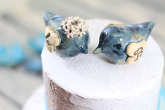 Love bird cake topper Initials cake topper Wedding cake topper Blue wedding - Ceramics By Orly