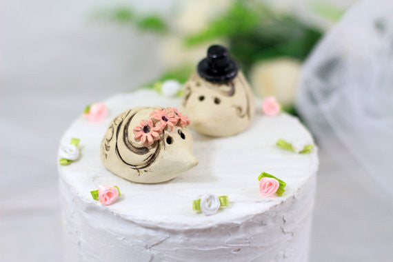 Hedgehog Wedding Hedgehog cake topper Animal Cake Topper Custom cake topper wedding - Ceramics By Orly  - 1