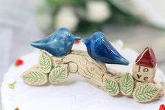 Love bird Wedding cake topper Cake topper rustic Cake topper tree Love home decor Wedding decor - Ceramics By Orly  - 3