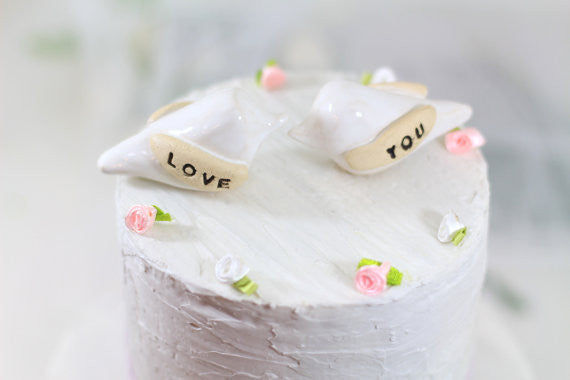 Love you Wedding cake topper Love birds cake topper Anniversary gift Chic wedding Engagement gift - Ceramics By Orly  - 1