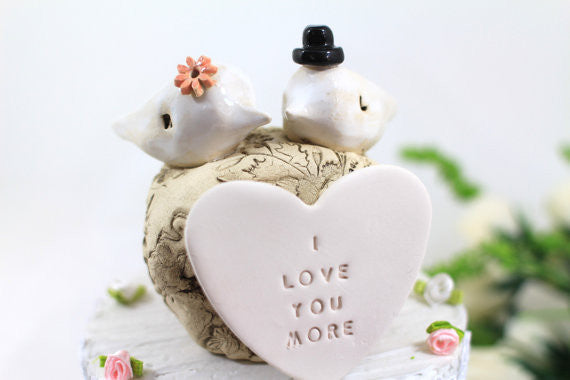 I love you more Custom love birds Wedding cake topper Cake topper rustic White Love birds cake topper