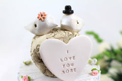 I love you more Custom love birds Wedding cake topper Cake topper rustic White Love birds cake topper - Ceramics By Orly