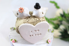 I do Me too Custom love birds Wedding cake topper Cake topper rustic White Love birds cake topper - Ceramics By Orly  - 2