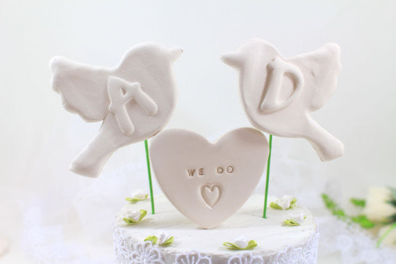 We do Bird Wedding cake topper Custom cake topper Initials cake topper Love birds wedding cake topper - Ceramics By Orly  - 1