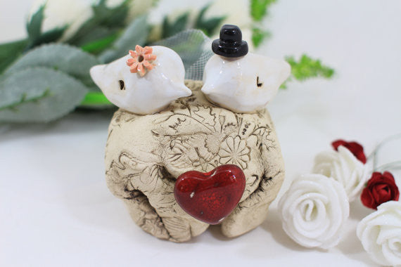 Unique bird cake topper Custom love birds Wedding cake topper Cake topper rustic Cake topper wedding Cake topper initials - Ceramics By Orly  - 1