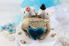 Unique bird cake topper Custom love birds Wedding cake topper Cake topper rustic Cake topper wedding Cake topper initials - Ceramics By Orly  - 5