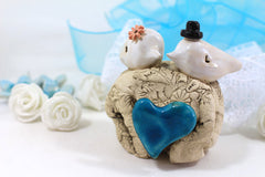 Unique bird cake topper Custom love birds Wedding cake topper Cake topper rustic Cake topper wedding Cake topper initials - Ceramics By Orly  - 3