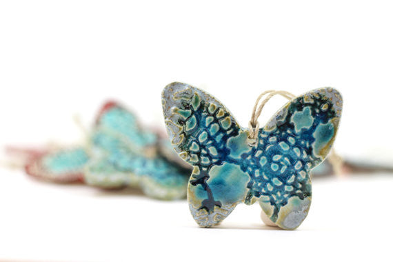 Room decor Brown and aqua butterfly ornament Holidays decor Wall hanging - Ceramics By Orly  - 1