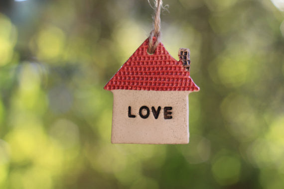 Red love house ornament Wall ornament Holidays decor Wall hanging Christmas tree ornaments