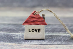 Red love house ornament Wall ornament Holidays decor Wall hanging Christmas tree ornaments - Ceramics By Orly  - 5