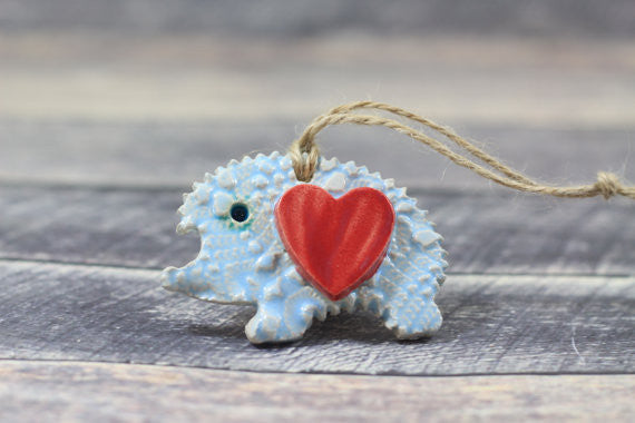Christmas ornament OOAK Hedgehog ornament Ceramic ornament decoration