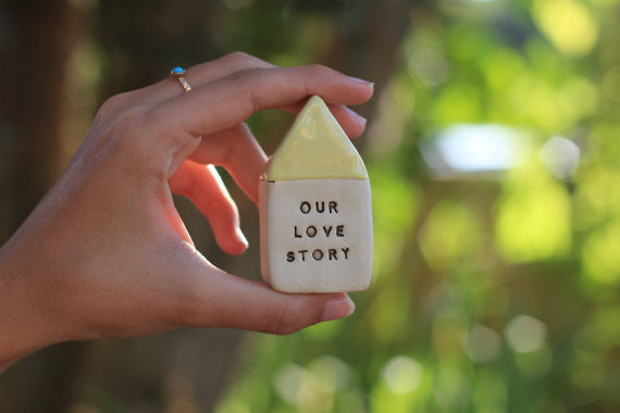Miniature house Motivational quotes Inspirational quote Our love story - Ceramics By Orly  - 1