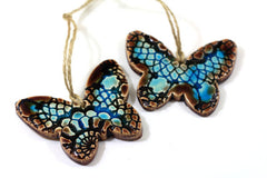 Butterfly ornament Room decor Brown and aqua butterfly ornament Holidays decor Wall hanging - Ceramics By Orly  - 1