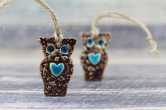 Ceramic ornament Ceramic Owl ornament in a color of your choice - Ceramics By Orly  - 2