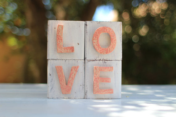 Handmade wooden letter blocks Love wooden blocks - Ceramics By Orly  - 1