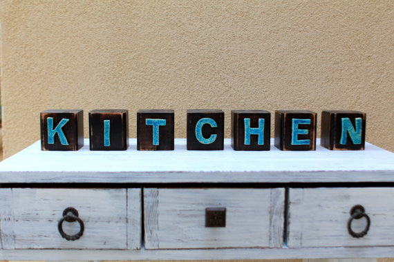 Handmade wooden letter blocks Kitchen wooden blocks