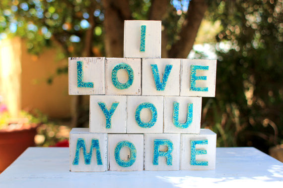 Handmade wooden letter blocks I love you more wooden blocks - Ceramics By Orly  - 1