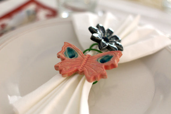 Flowers and butterflies handmade napkin rings - Ceramics By Orly  - 1