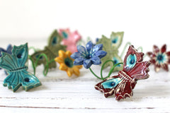 Flowers and butterflies handmade napkin rings - Ceramics By Orly  - 2