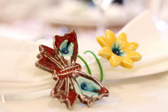 Flowers and butterflies handmade napkin rings - Ceramics By Orly  - 3