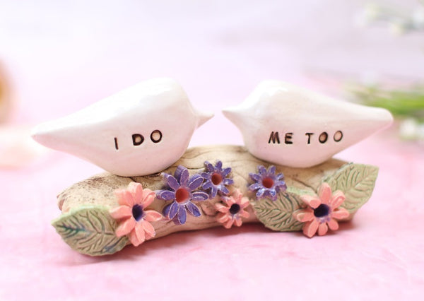 I Do Me Too Bird wedding cake topper, Custom cake topper, Love bird cake topper