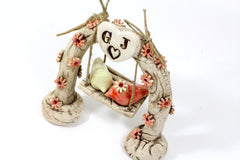 Swing wedding cake topper A pair of ceramic love birds swings under their love tree - Ceramics By Orly  - 5