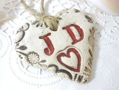 Personalized bridal bouquet charm with your initials - Ceramics By Orly  - 1