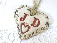 Personalized bridal bouquet charm with your initials - Ceramics By Orly  - 2