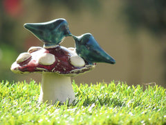 Mushroom wedding cake topper A pair of love birds on a mushroom in a color of your choice - Ceramics By Orly  - 3