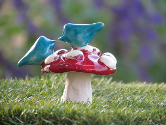 Mushroom wedding cake topper A pair of love birds on a mushroom in a color of your choice - Ceramics By Orly  - 1