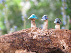 Tiny rustic ceramic mushrooms garden in variety of colors sizes and shapes - Ceramics By Orly  - 4