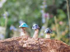 Tiny rustic ceramic mushrooms garden in variety of colors sizes and shapes - Ceramics By Orly  - 2