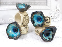 OOAK decorative handmade napkin rings set - Ceramics By Orly  - 4
