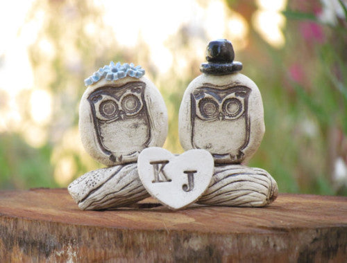 Personalized owls wedding cake topper - Ceramics By Orly  - 1
