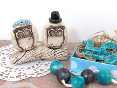 Personalized owls wedding cake topper - Ceramics By Orly  - 5
