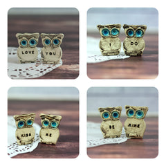 I DO owls cake topper for weddings - Ceramics By Orly  - 4