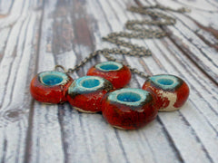 OOAK red and turquoise ceramic necklace - Ceramics By Orly  - 4