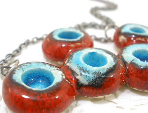 OOAK red and turquoise ceramic necklace - Ceramics By Orly  - 1
