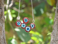 OOAK red and turquoise ceramic necklace - Ceramics By Orly  - 3