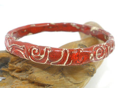 Ceramic jewelry Unique and stylish red and white ceramic bracelet Romantic style fashion jewelry - Ceramics By Orly  - 2