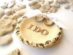 Rustic wedding Ring bearer – I do Ceramic stone look wedding ring holder - Ceramics By Orly  - 3