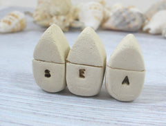 A set of tiny rustic ceramic SEA miniature houses - Ceramics By Orly  - 1