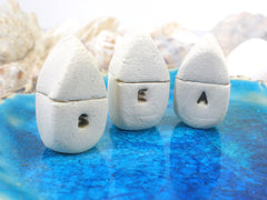 A set of tiny rustic ceramic SEA miniature houses - Ceramics By Orly  - 2