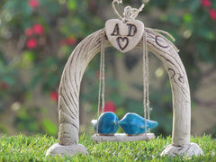 Cake toppers wedding – Custom swing wedding cake topper Rustic cake topper - Ceramics By Orly  - 6