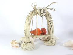 Cake toppers wedding – Custom swing wedding cake topper Rustic cake topper - Ceramics By Orly  - 3