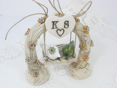 Swing wedding cake topper A pair of ceramic love birds swings under their love tree - Ceramics By Orly  - 6